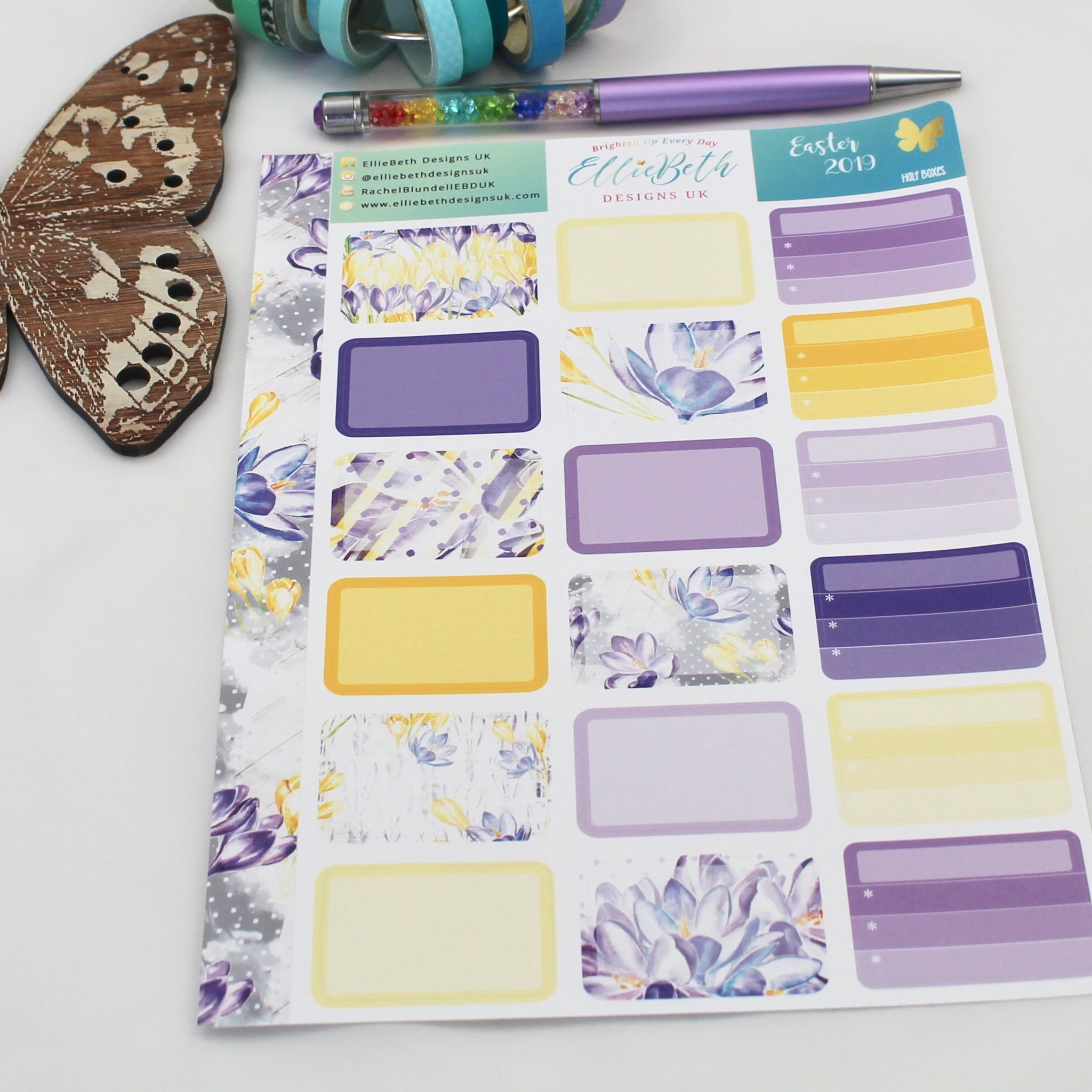 Easter 2019 - Half Boxes -  A5 binder ready planner stickers