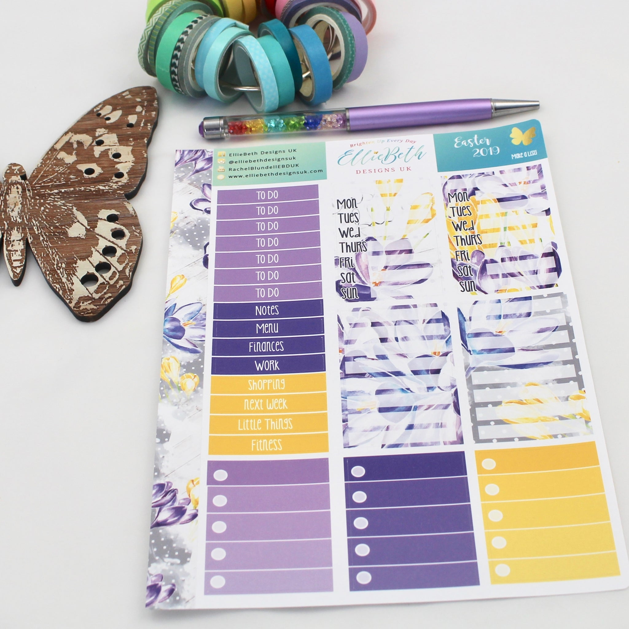 Easter 2019 - Make a List Sheet -  A5 binder ready planner stickers - EllieBeth Designs UK