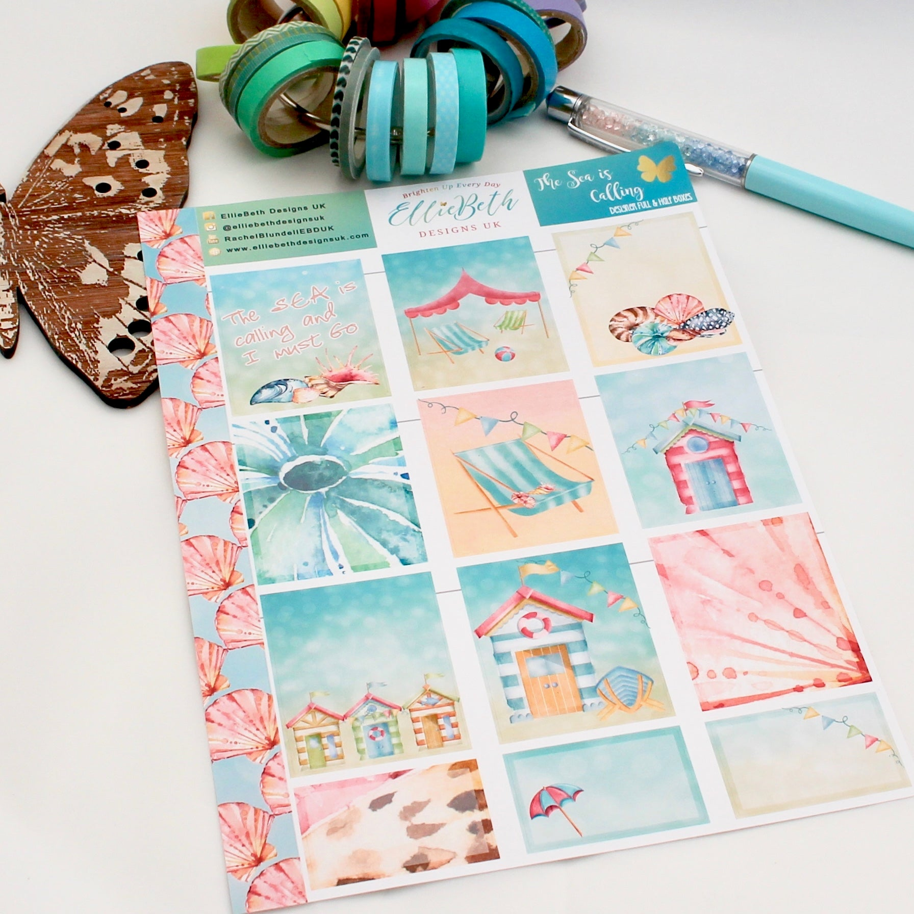 'The Sea is Calling' - Designer Full and Half Boxes Sheet -  A5 binder ready planner stickers