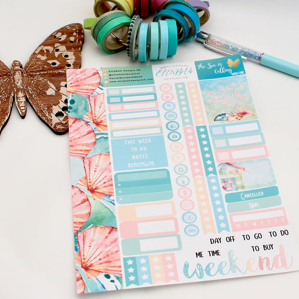'The Sea is Calling' Weekly Core Sheet - A5 binder ready planner stickers