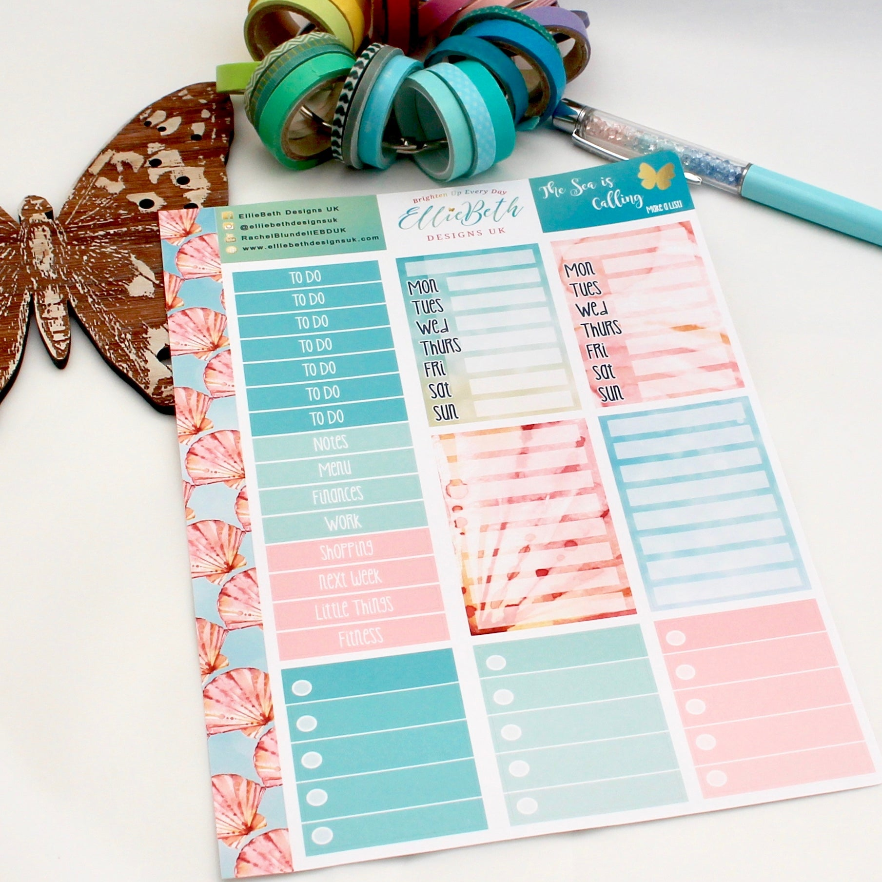 'The Sea is Calling' - Make a List Sheet -  A5 binder ready planner stickers