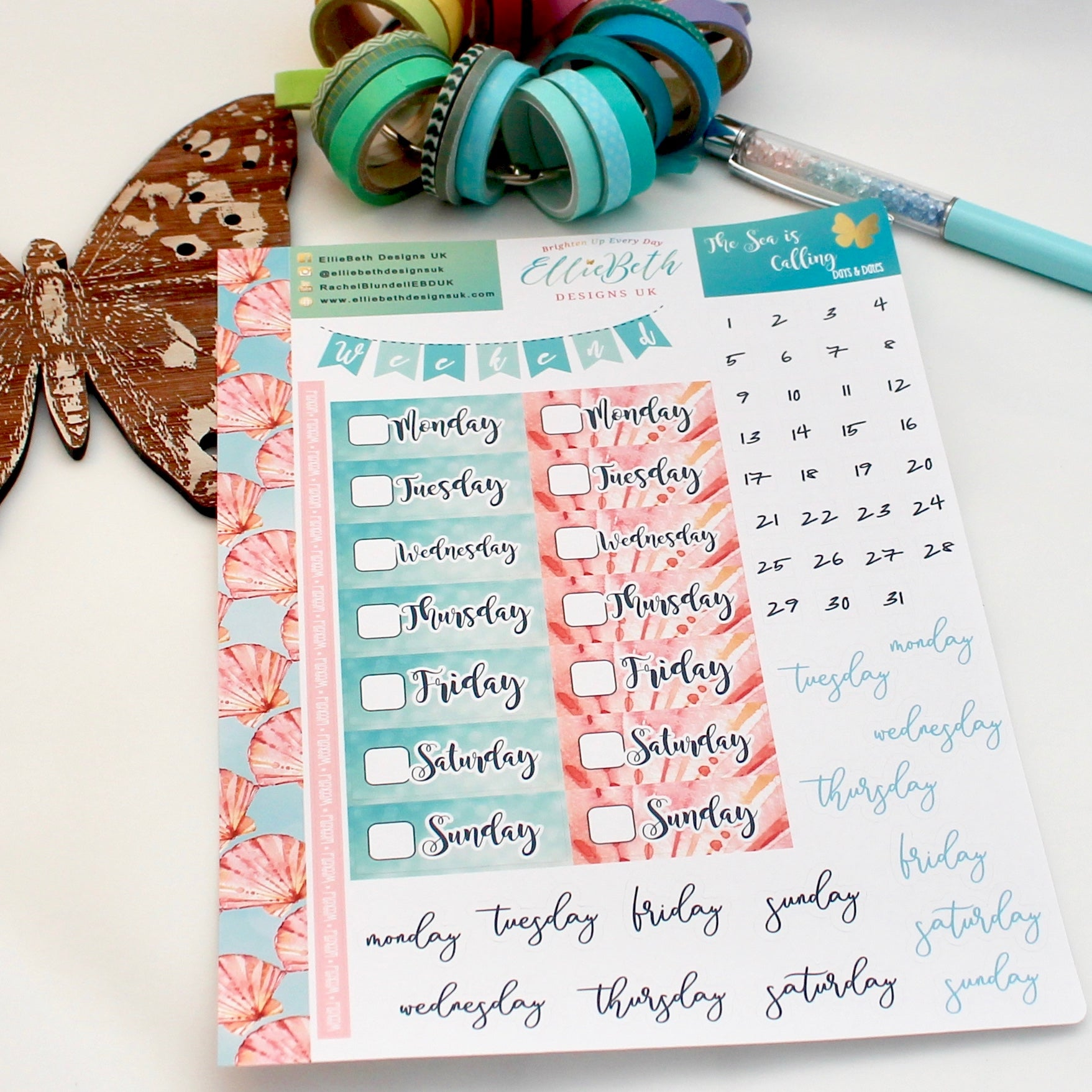 'The Sea is Calling' - Days and Dates - A5 binder ready planner stickers