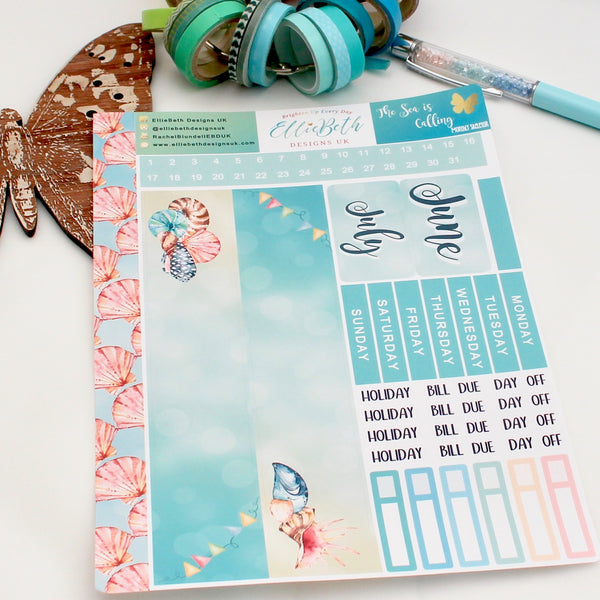 'The Sea is Calling' - Monthly View Kit -  A5 binder ready planner stickers - EllieBeth Designs UK
