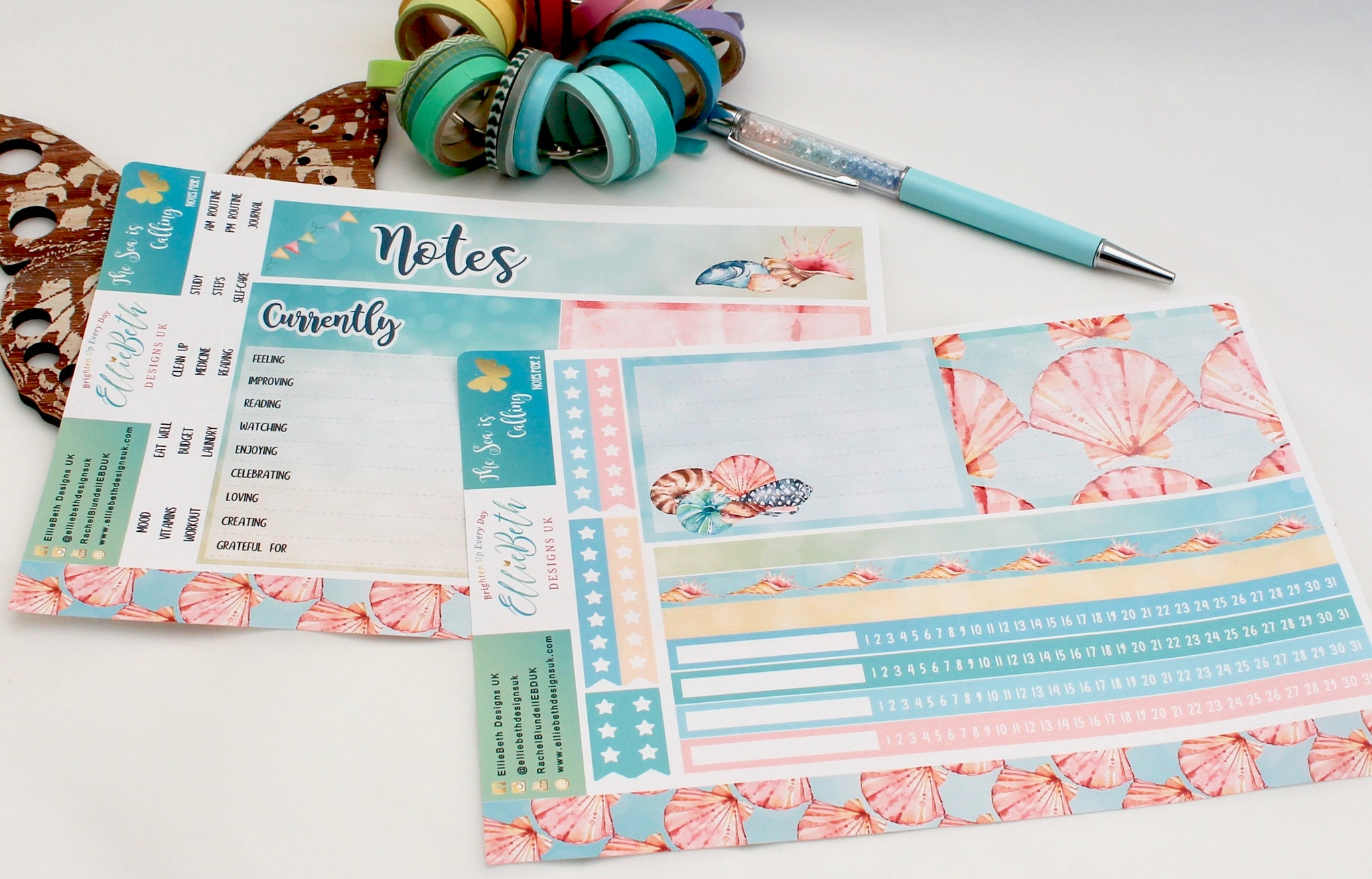 'The Sea is Calling' Notes Page Kit -  A5 binder ready planner stickers - EllieBeth Designs UK