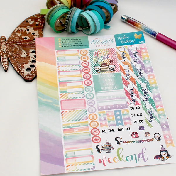 'Rainbow Birthday' - A5 Core Sheet - A5 binder ready planner stickers