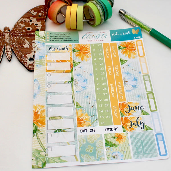 'Make a Wish' - A5 Monthly View Kit - A5 binder ready planner stickers