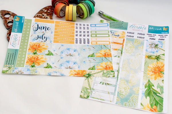 'Make a Wish' - Monthly View Kit -  A5 binder ready planner stickers