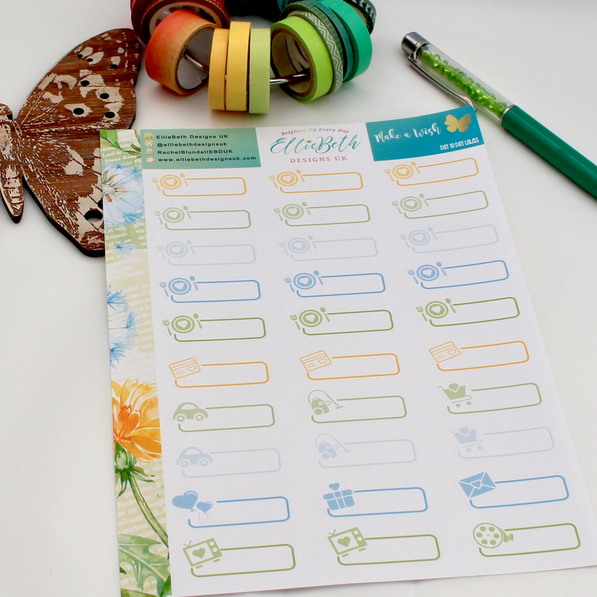 'Make a Wish'- Day to Day Labels - A5 binder ready planner stickers - EllieBeth Designs UK