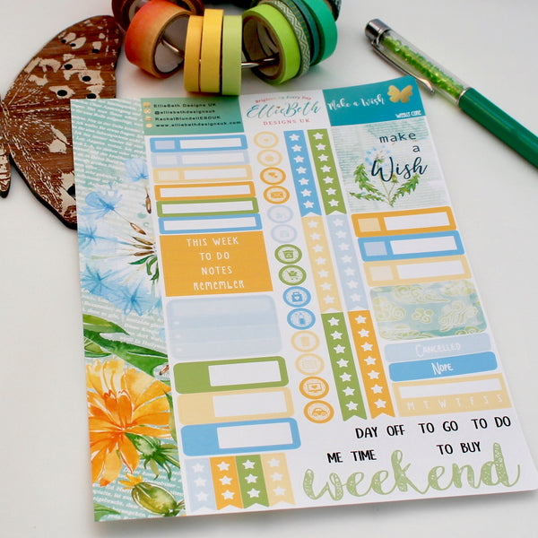 'Make a Wish' - Weekly Core Sheet - A5 binder ready planner stickers