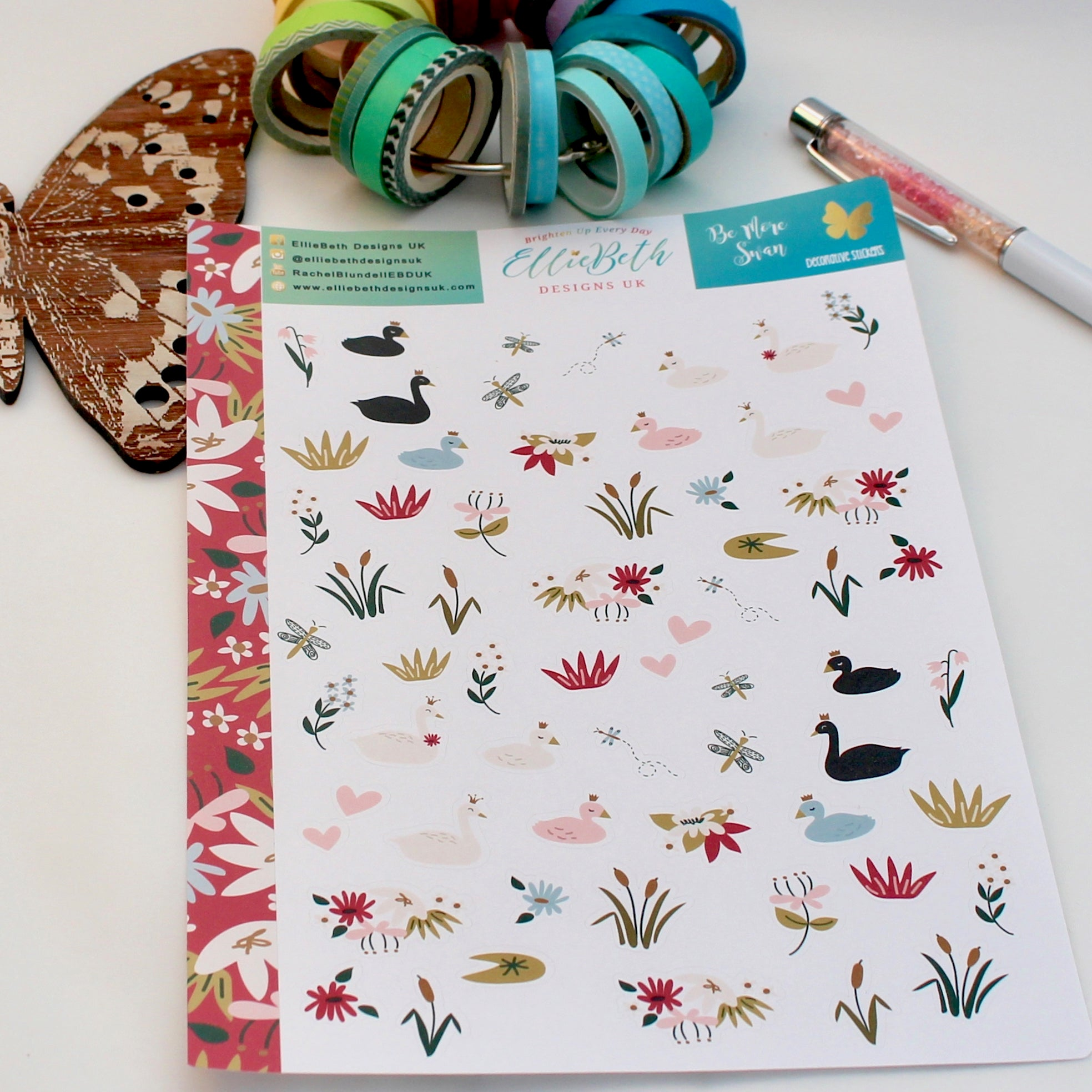 'Be More Swan' - Decorative Sheet -  A5 binder ready planner stickers