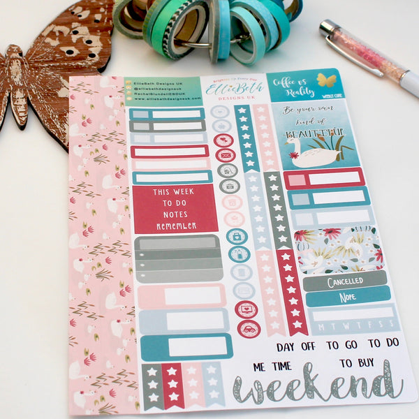 'Be More Swan' - Weekly Core Sheet - A5 binder ready planner stickers
