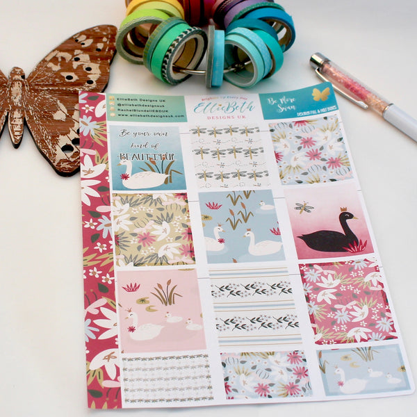 'Be More Swan' - Designer Full and Half Boxes Sheet -  A5 binder ready planner stickers