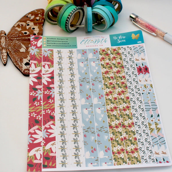 'Be More Swan' - Washi Strips -  A5 binder ready planner stickers
