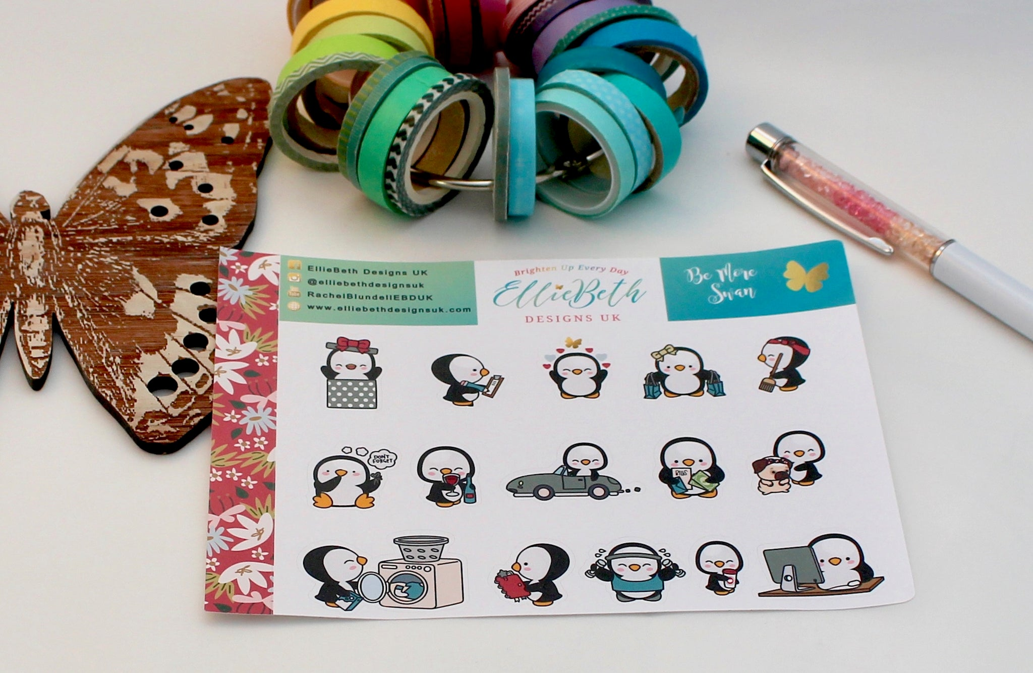 'Be More Swan' - A Penguin For Every Occasion -  binder ready planner stickers - EllieBeth Designs UK