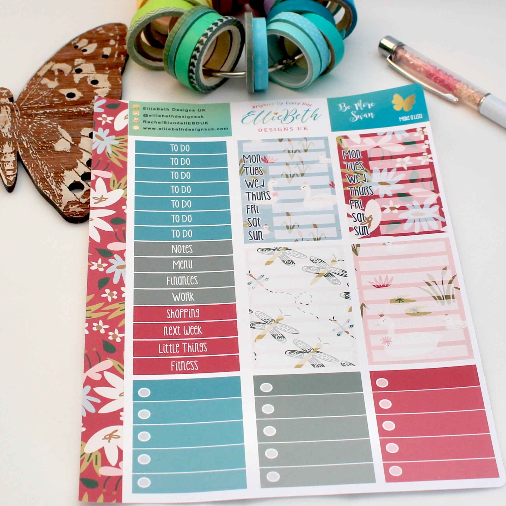 'Be More Swan' - Make a List Sheet -  A5 binder ready planner stickers - EllieBeth Designs UK