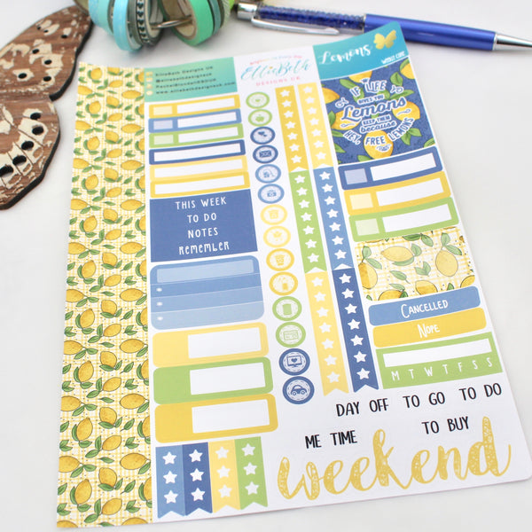 Lemons - Weekly Core Sheet - A5 binder ready planner stickers