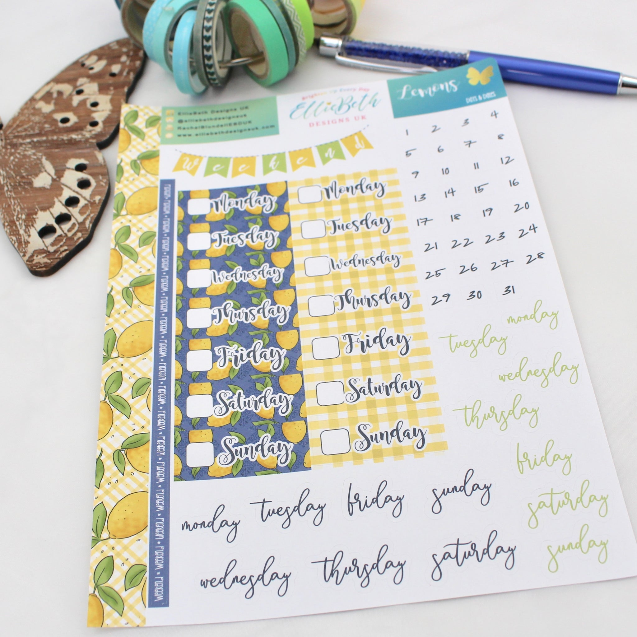 Lemons - Days and Dates - A5 binder ready planner stickers