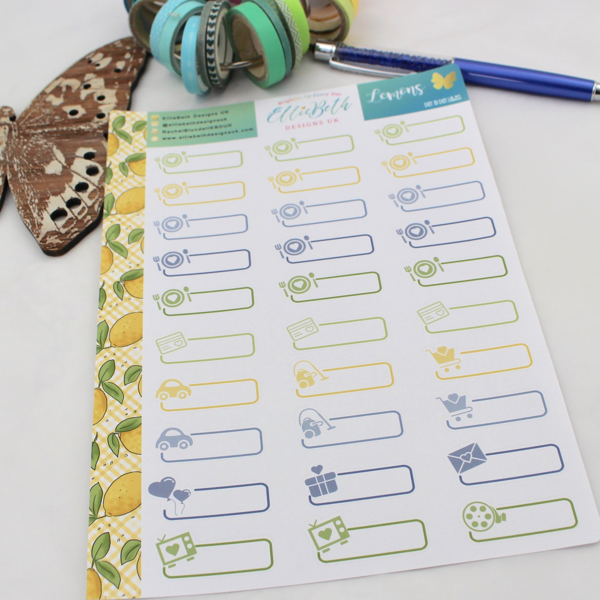 Lemons - Day to Day Labels - A5 binder ready planner stickers - EllieBeth Designs UK