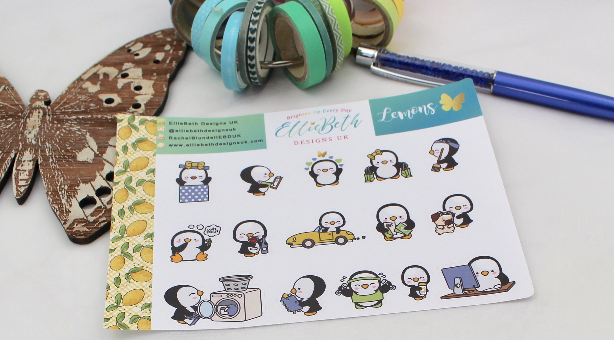 Lemons - A Penguin For Every Occasion -  binder ready planner stickers - EllieBeth Designs UK