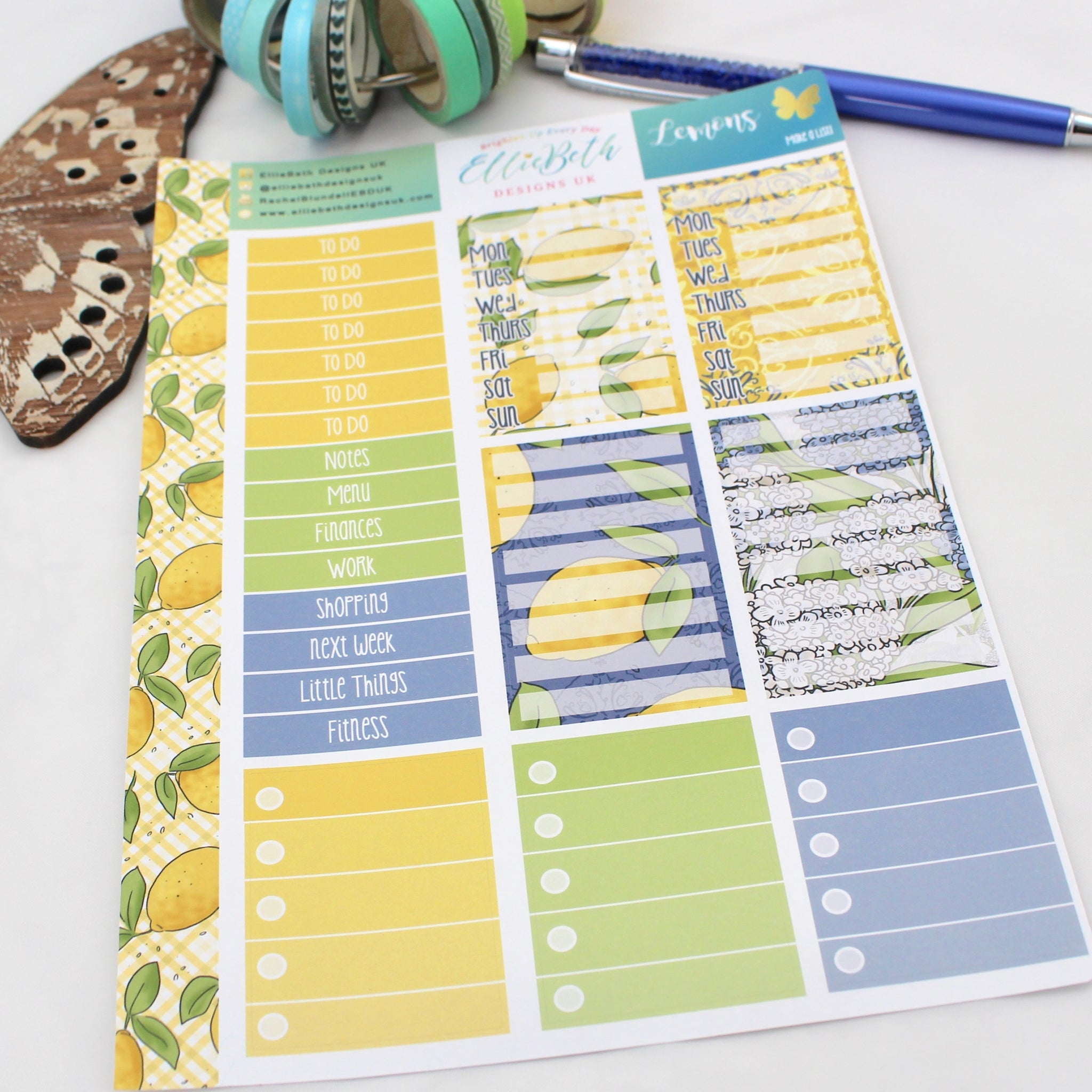 Lemons - Make a List Sheet -  A5 binder ready planner stickers - EllieBeth Designs UK