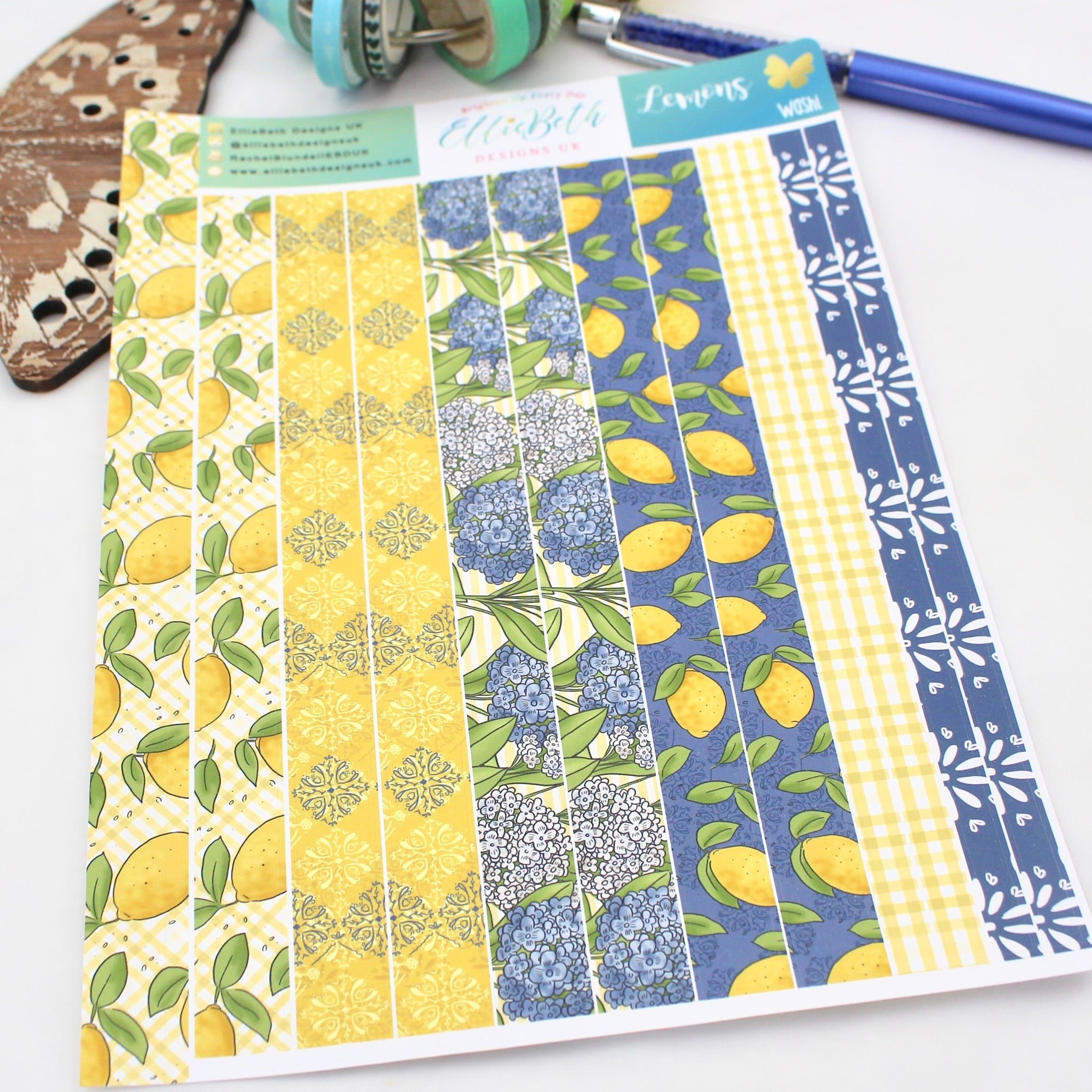 Lemons - Washi Strips -  A5 binder ready planner stickers