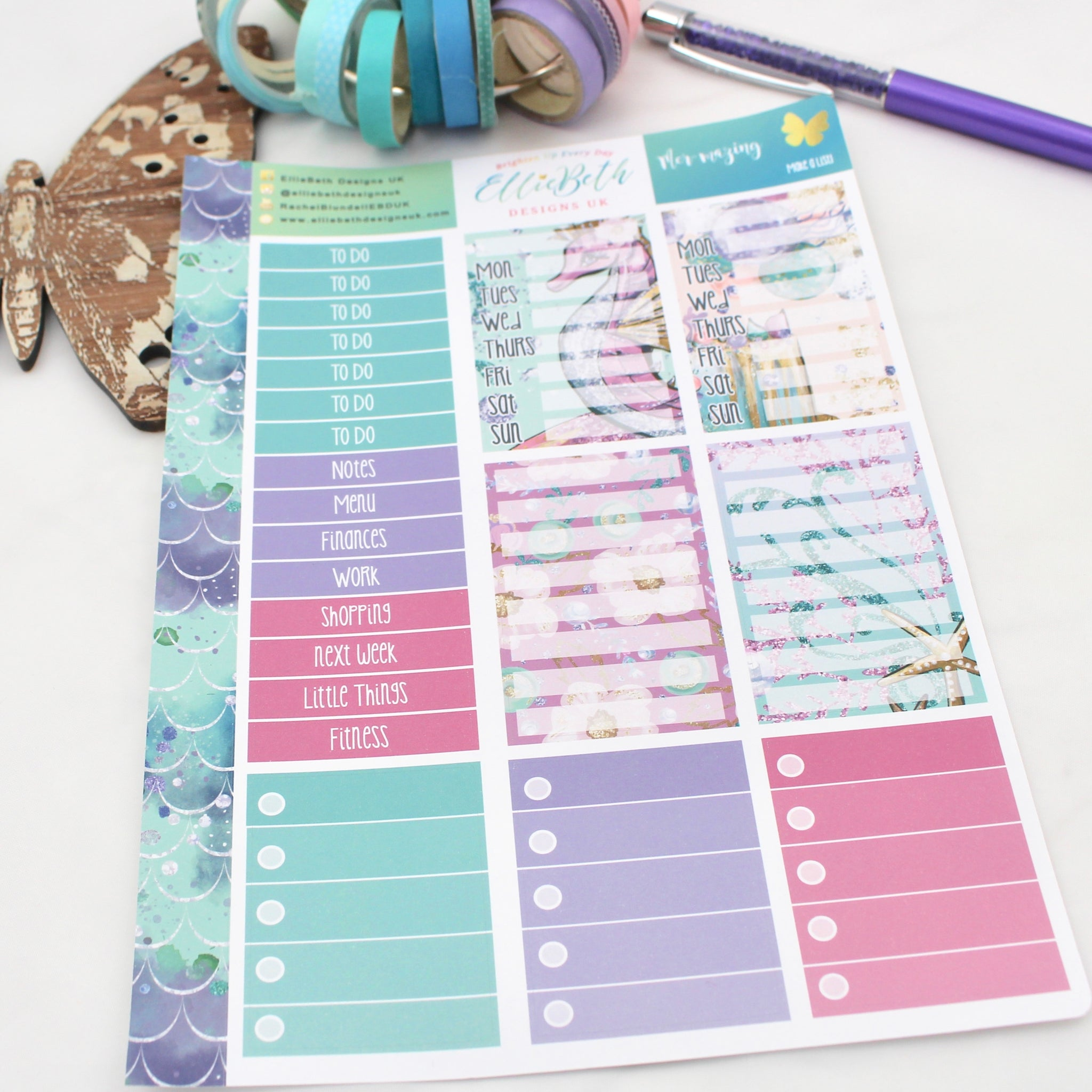 Mer-mazing - Make a List Sheet -  A5 binder ready planner stickers