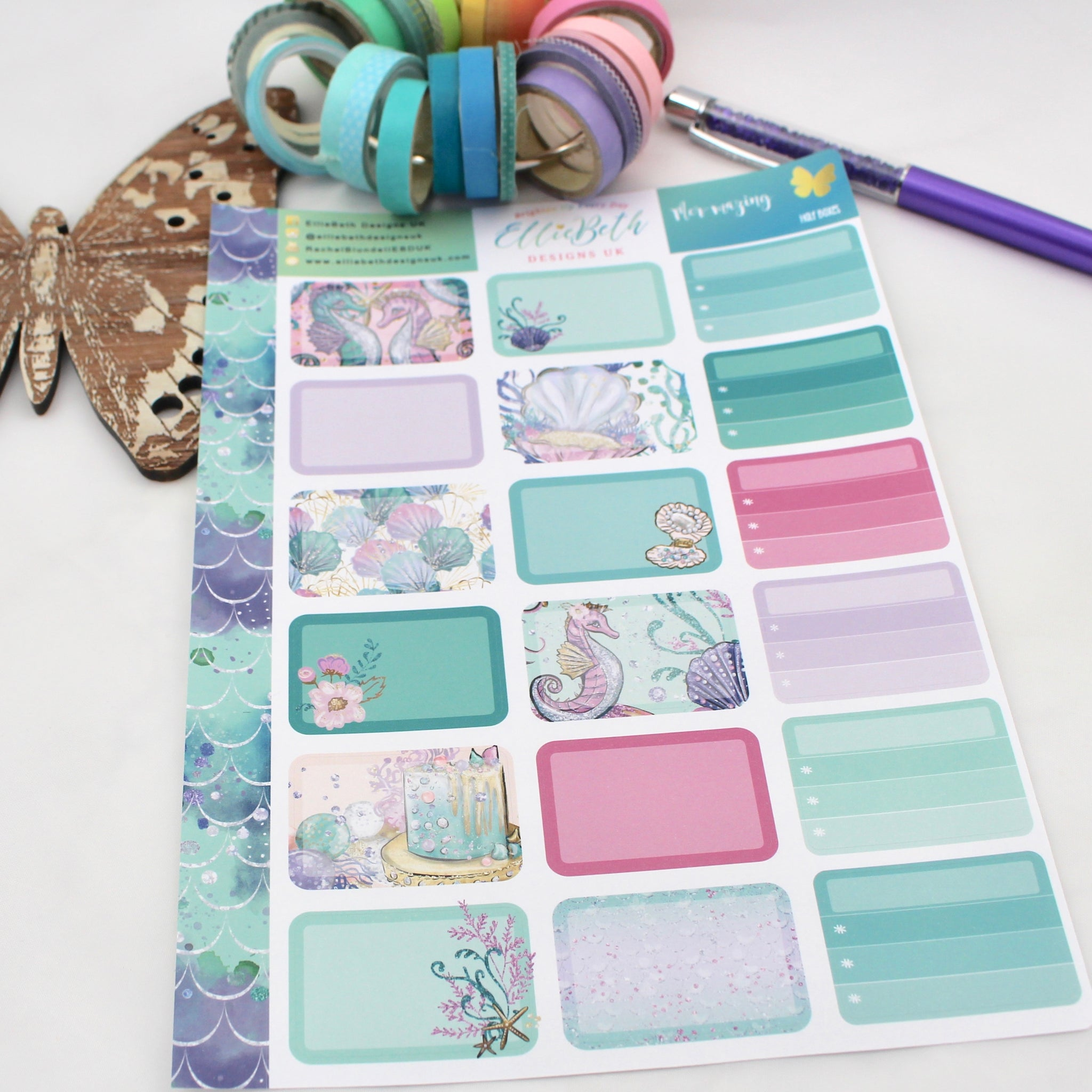 Mer-mazing - Half Boxes -  A5 binder ready planner stickers