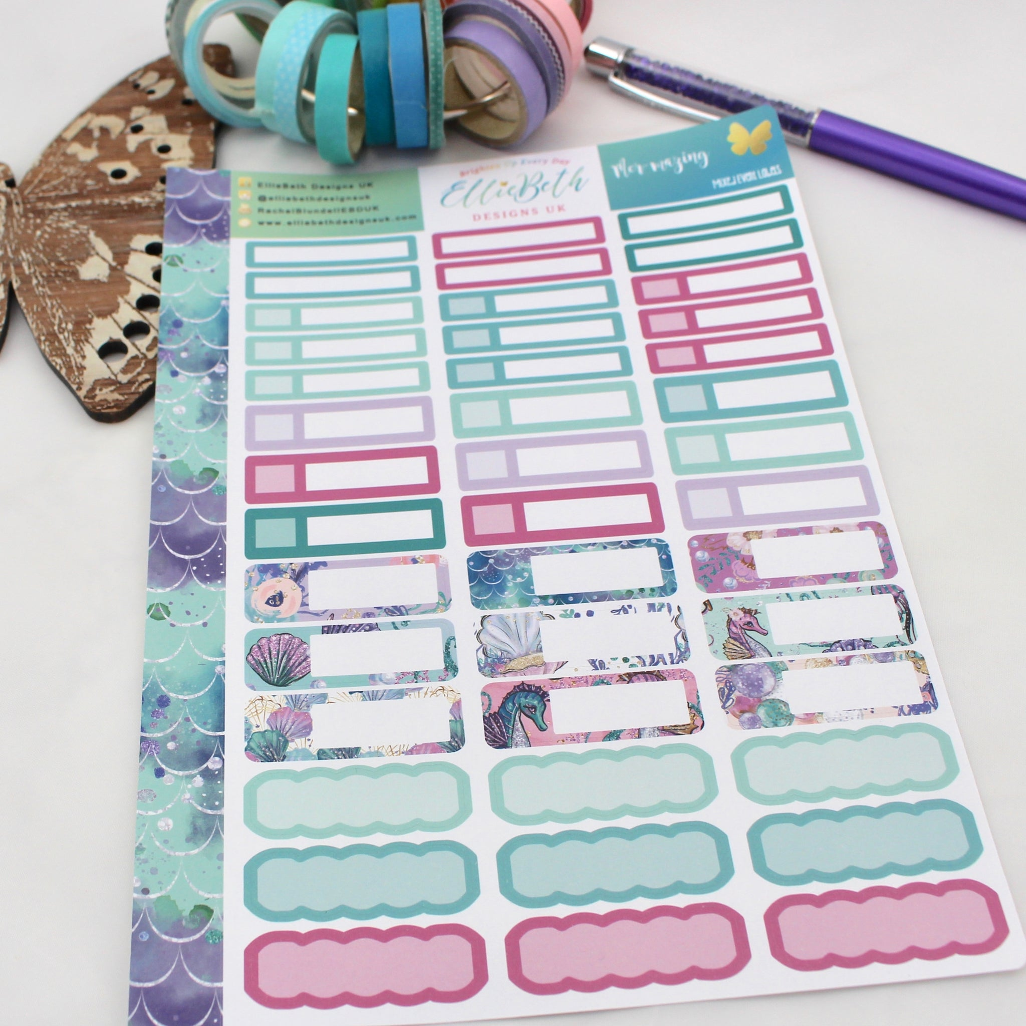 Mer-mazing - Mixed Event Labels -  A5 binder ready planner stickers