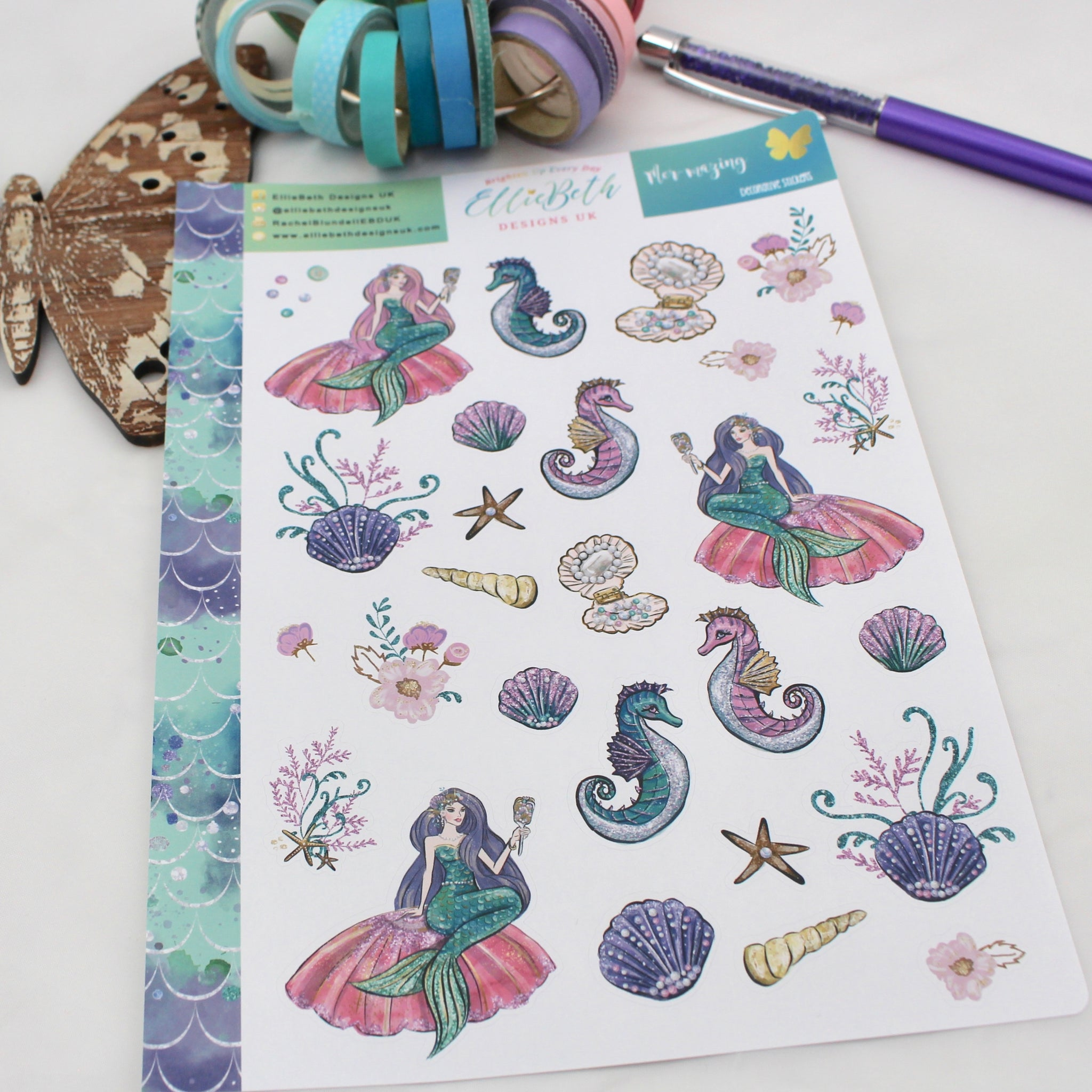 Mer-mazing - Decorative Sheet -  A5 binder ready planner stickers - EllieBeth Designs UK