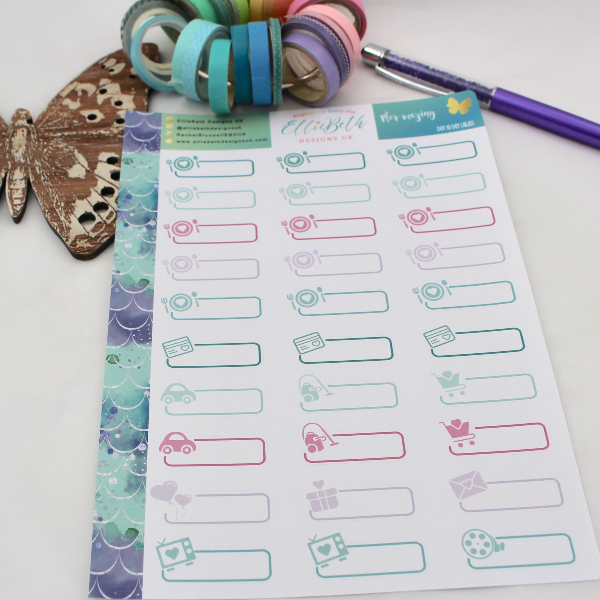Mer-mazing - Day to Day Labels - A5 binder ready planner stickers - EllieBeth Designs UK