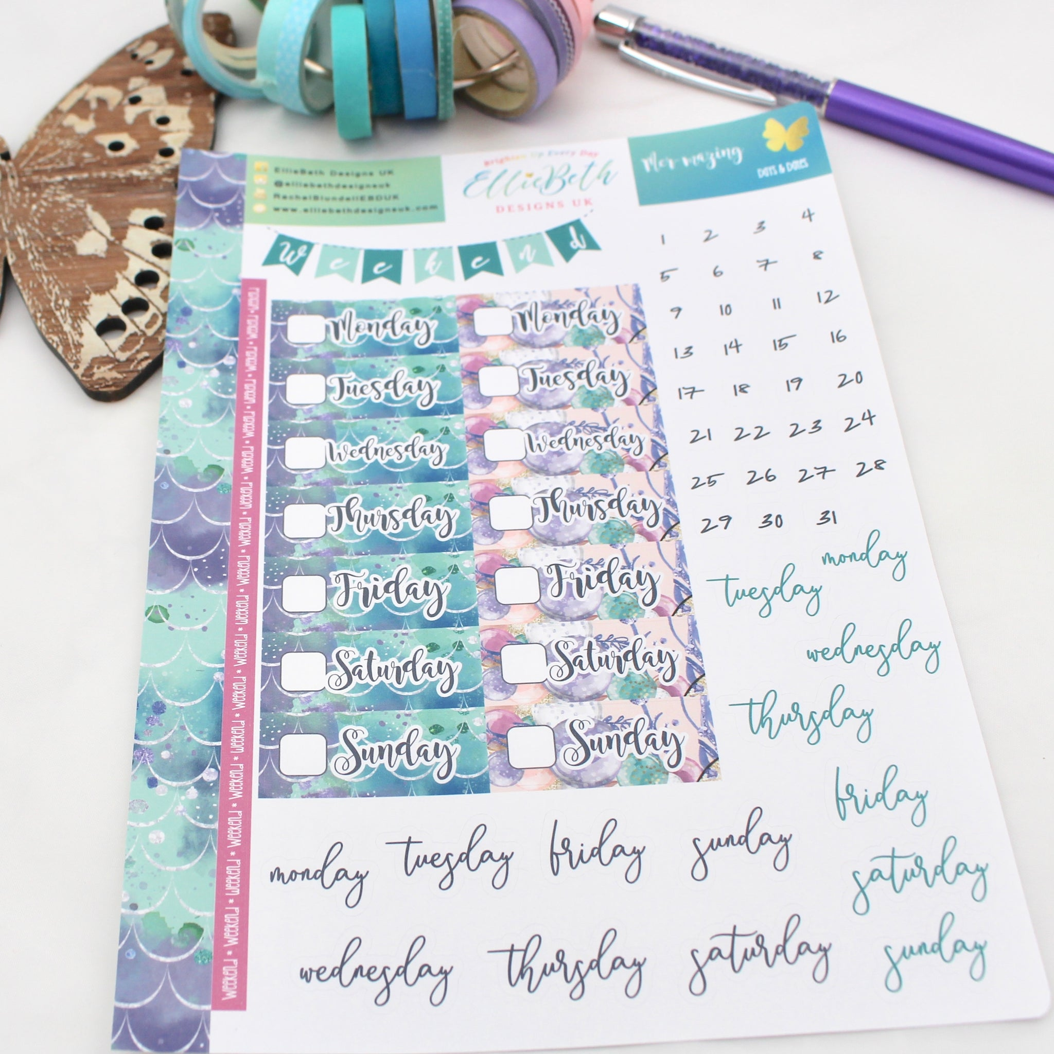 Mer-mazing - Days and Dates - A5 binder ready planner stickers