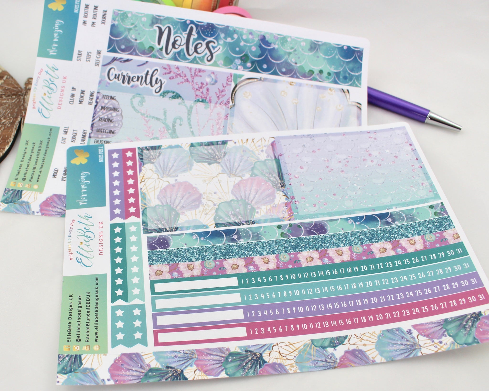 Mer-mazing - Notes Page Kit -  A5 binder ready planner stickers - EllieBeth Designs UK