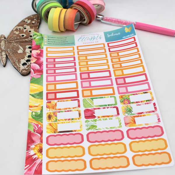 Sunbeams - Mixed Event Labels -  A5 binder ready planner stickers