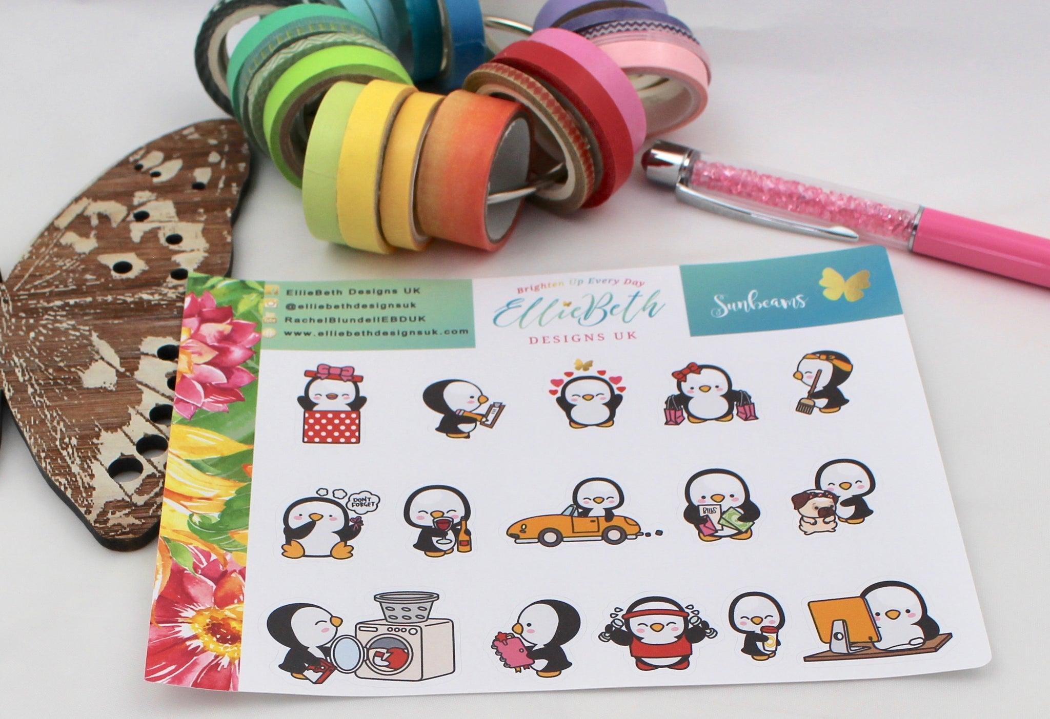 Sunbeams - A Penguin For Every Occasion -  binder ready planner stickers - EllieBeth Designs UK