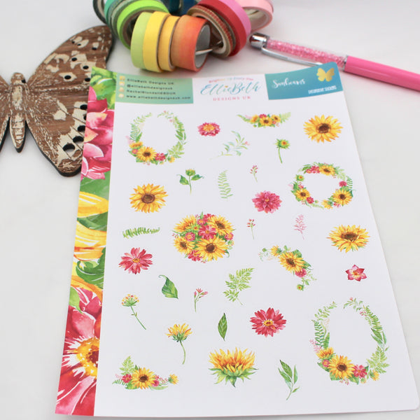 Sunbeams - Decorative Sheet -  A5 binder ready planner stickers