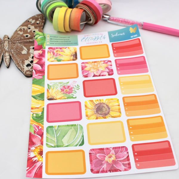 Sunbeams - Half Boxes -  A5 binder ready planner stickers