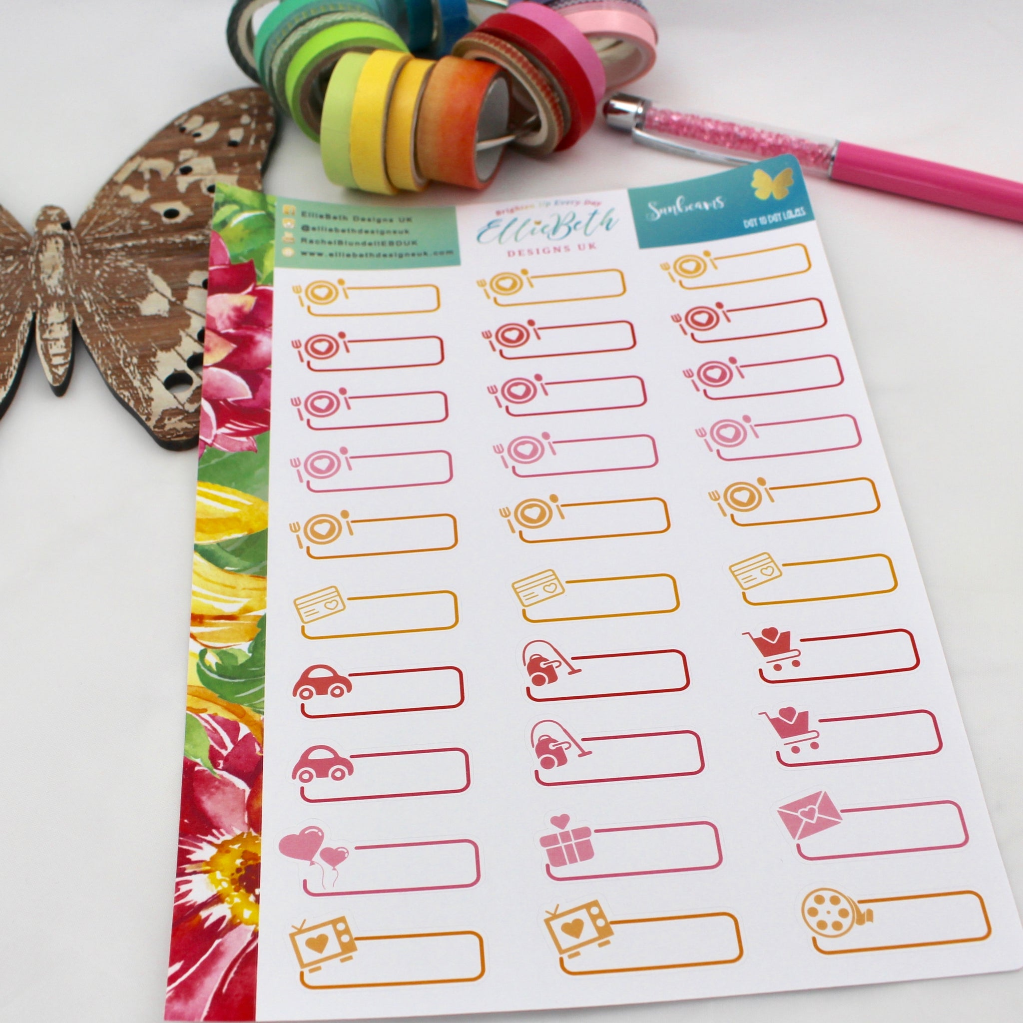 Sunbeams - Day to Day Labels - A5 binder ready planner stickers