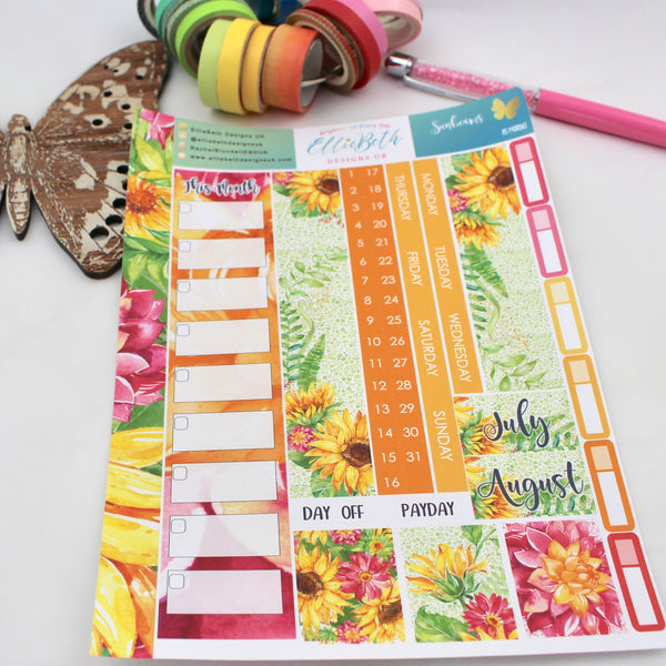 Sunbeams - A5 Monthly View Kit - A5 binder ready planner stickers