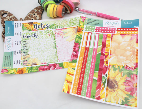 Sunbeams - Notes Page Kit -  A5 binder ready planner stickers - EllieBeth Designs UK