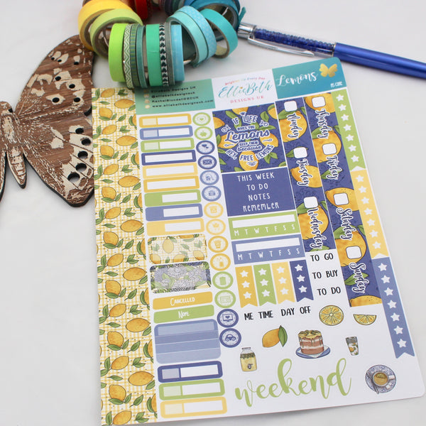 Lemons - A5 Core Sheet - A5 binder ready planner stickers