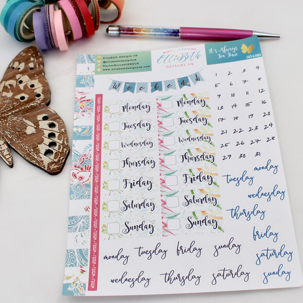 'It's Always Tea Time' - Days and Dates - A5 binder ready planner stickers