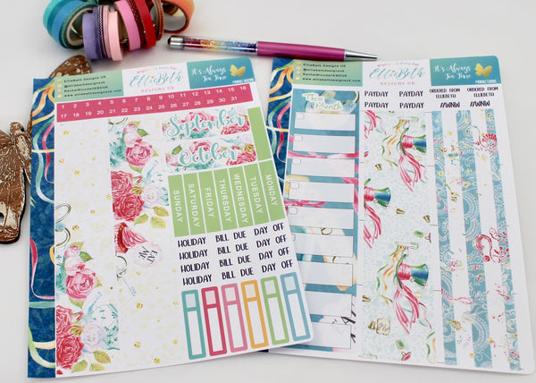 'It's Always Tea Time' - Monthly View Kit -  A5 binder ready planner stickers