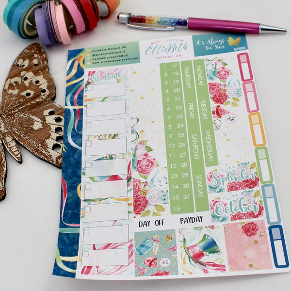 'It's Always Tea Time' - A5 Monthly View Kit - A5 binder ready planner stickers