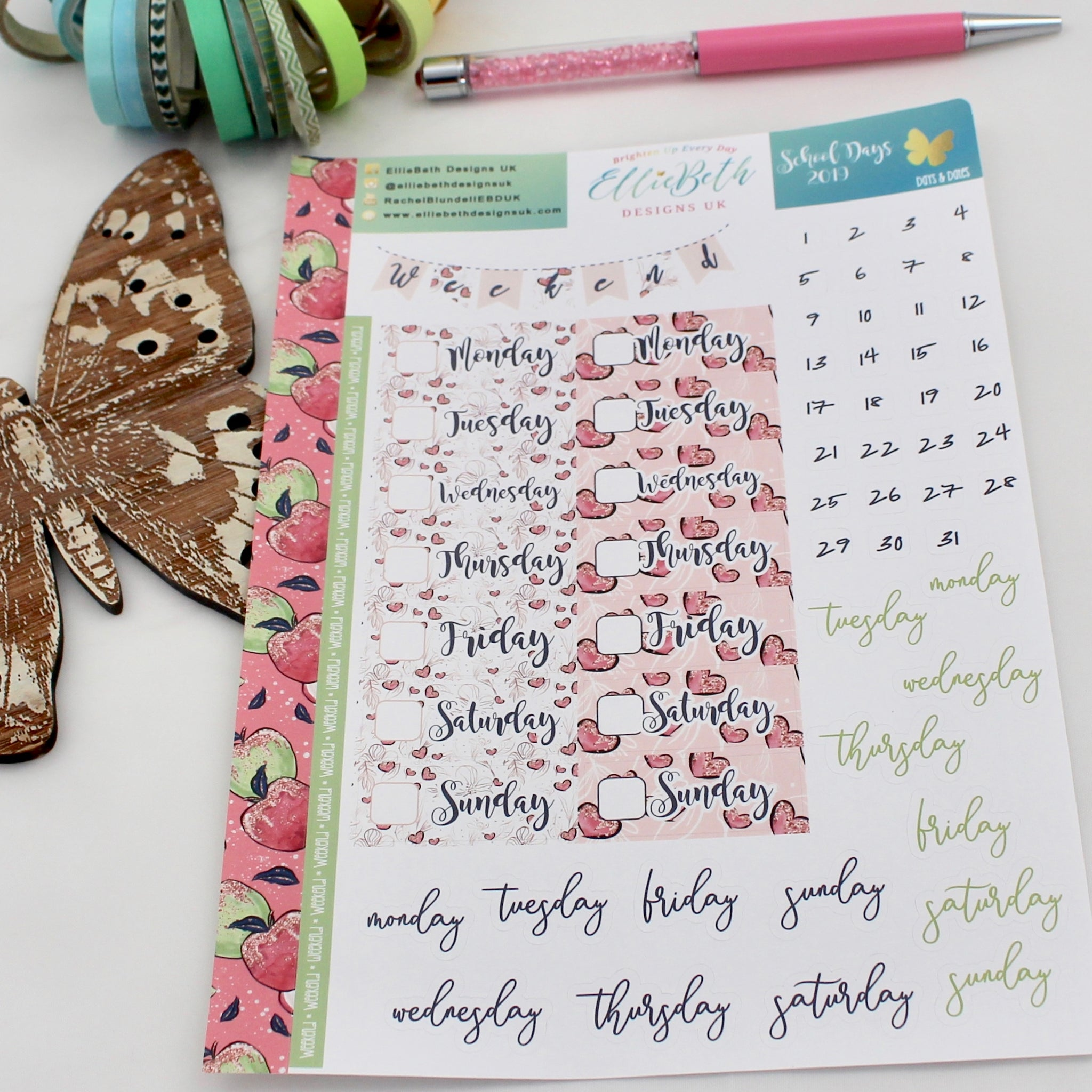 'School Days' - Days and Dates -  A5 binder ready planner stickers