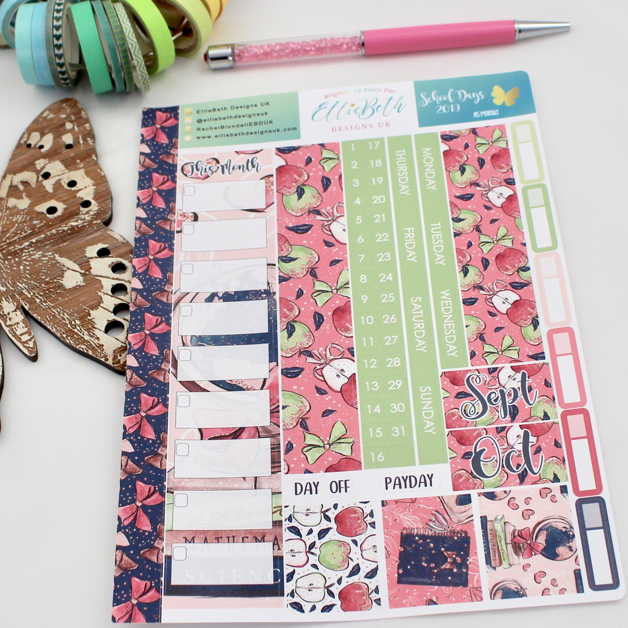'School Days' - A5 Monthly View Kit - A5 binder ready planner stickers - EllieBeth Designs UK
