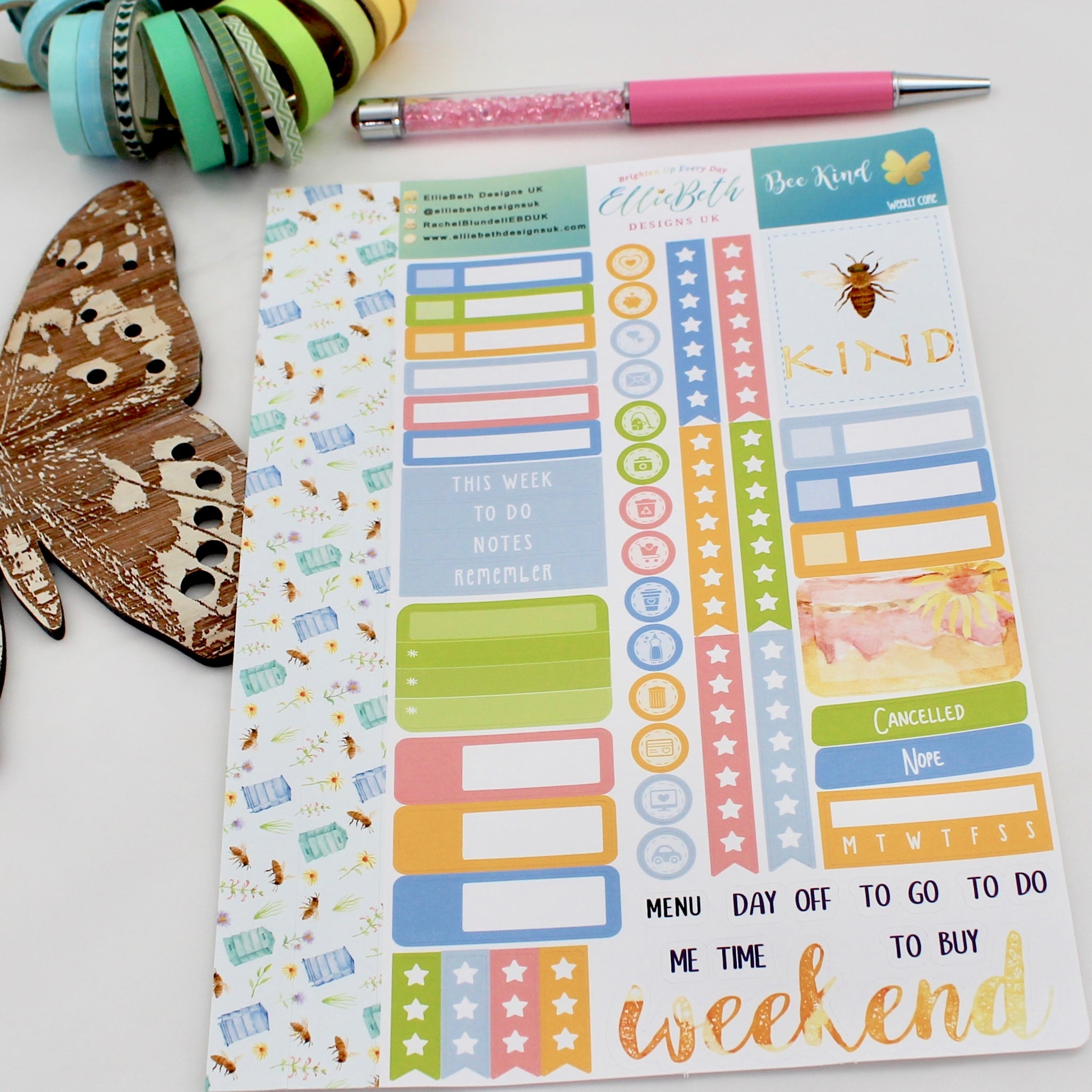 'Bee Kind' - Weekly Core Sheet - A5 binder ready planner stickers
