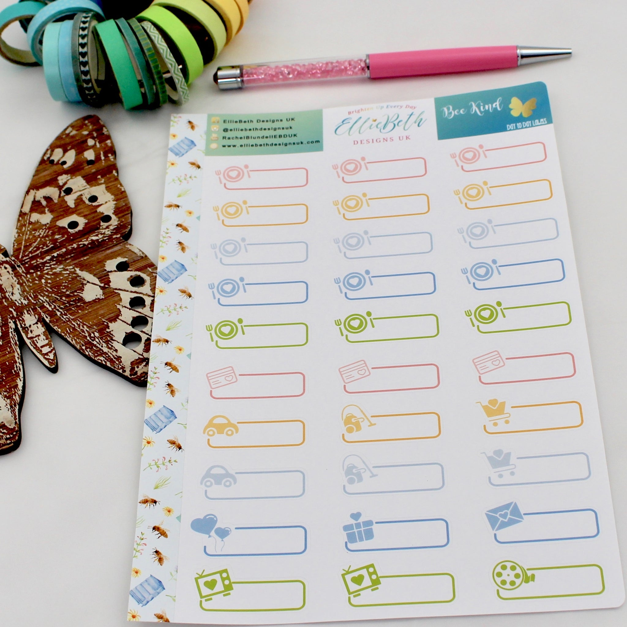 'Bee Kind' - Day to Day Labels - A5 binder ready planner stickers