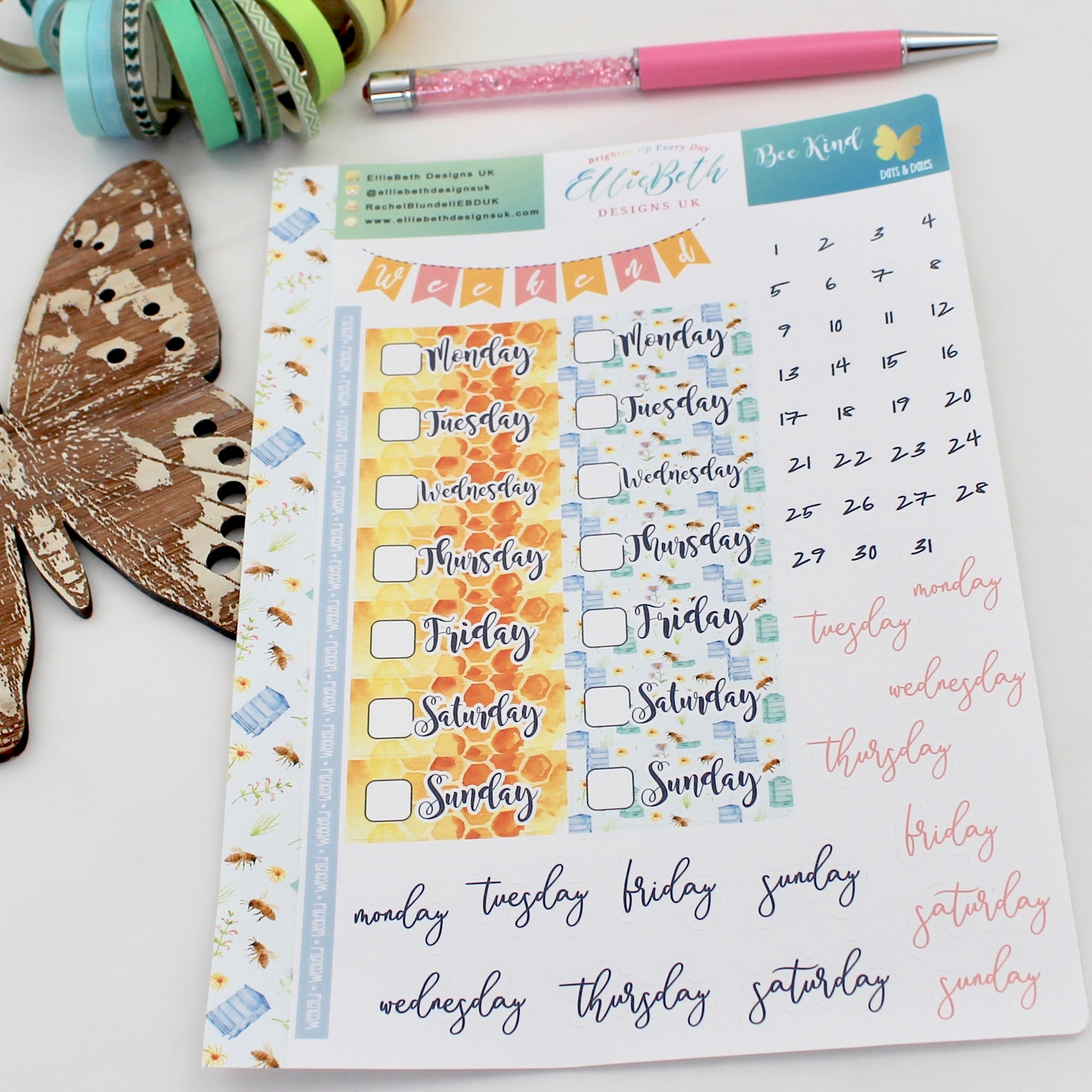 'Bee Kind' - Days and Dates - A5 binder ready planner stickers
