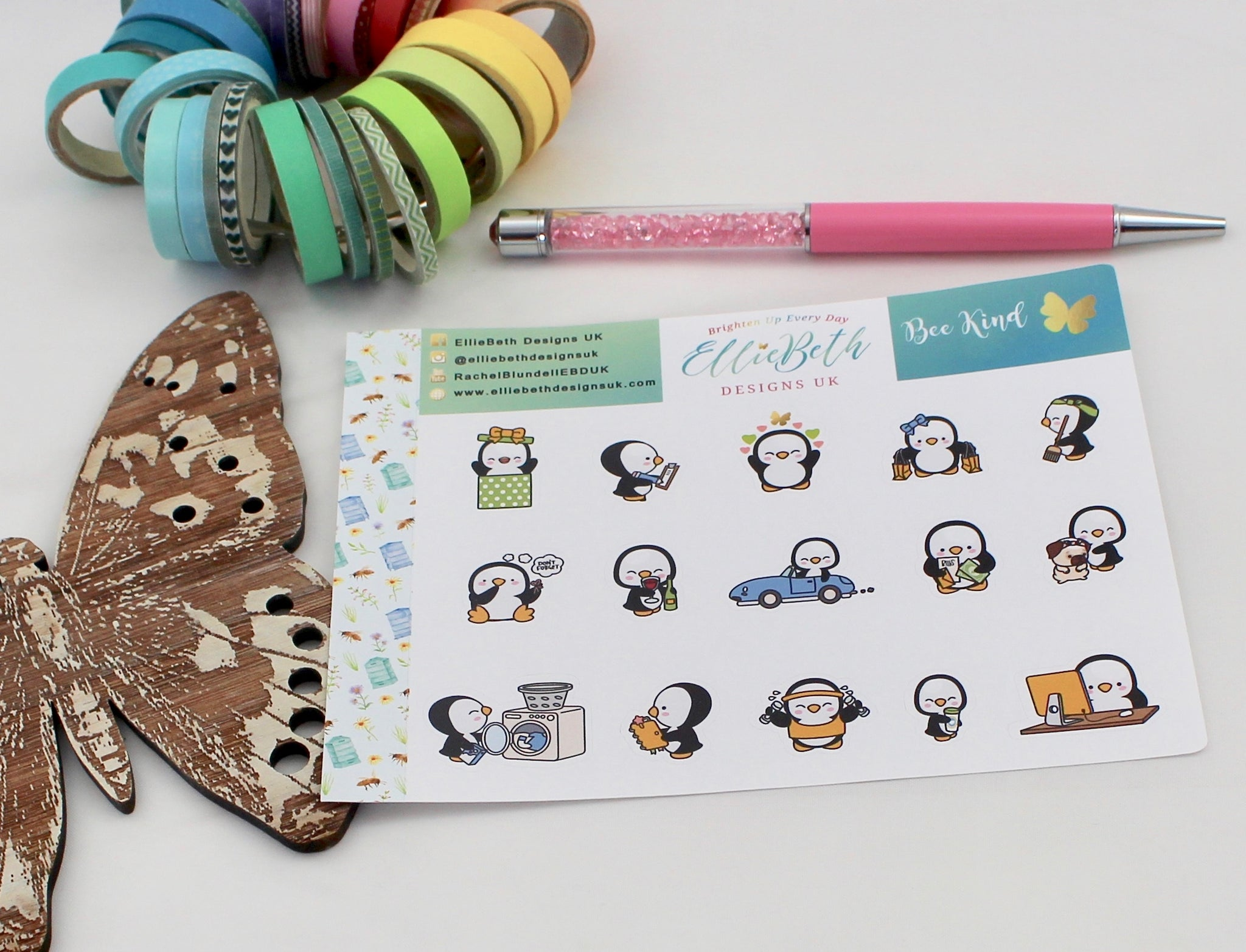 'Bee Kind' - A Penguin For Every Occasion -  binder ready planner stickers - EllieBeth Designs UK
