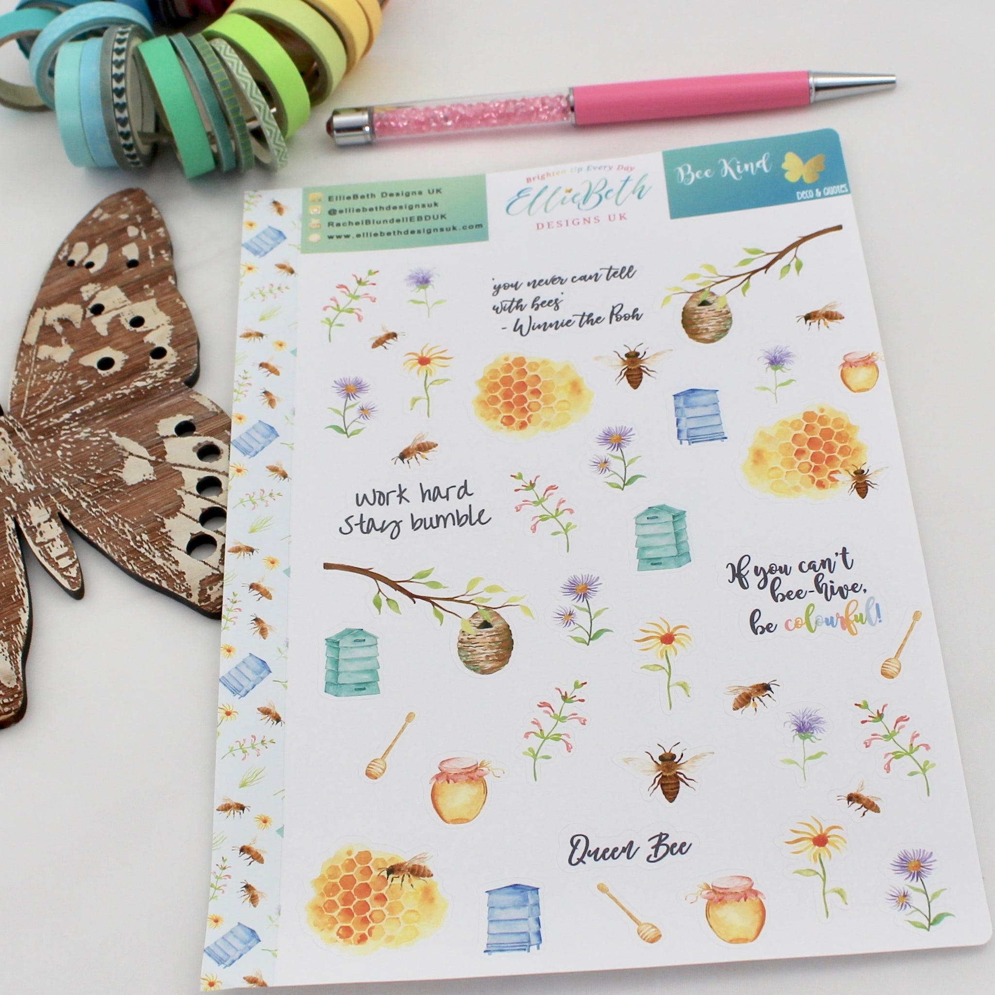 'Bee Kind' - Decorative Sheet -  A5 binder ready planner stickers
